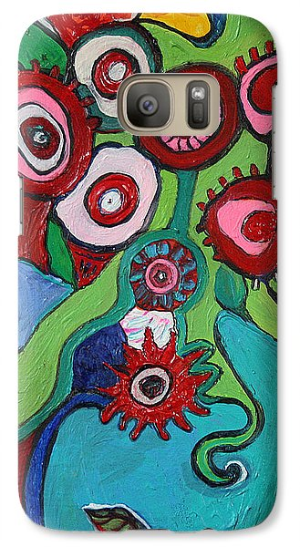 Galaxy Case featuring the painting Funky Flowers And Vase by Alison Caltrider