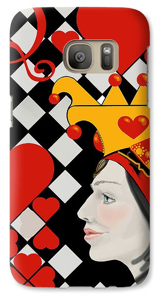 Galaxy Case featuring the painting Gabby Queen Of Hearts by Carol Jacobs