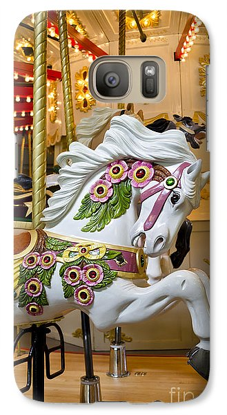 Galaxy Case featuring the photograph Galloping White Beauty - Vintage Carousel Horse by Maria Janicki