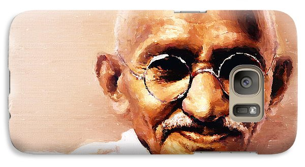 Galaxy Case featuring the painting Gandhi In Color by Wayne Pascall