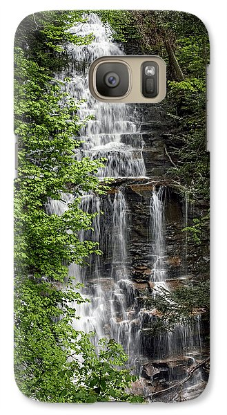 Galaxy Case featuring the photograph Ganoga Falls Through The New Spring Foliage by Gene Walls