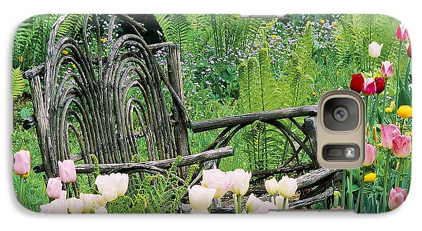 Galaxy Case featuring the photograph Garden Bench by Alan L Graham