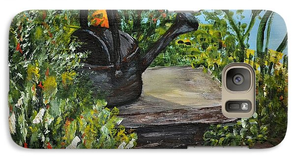 Galaxy Case featuring the painting Garden Bench by Debbie Baker