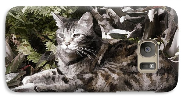 Galaxy Case featuring the digital art Garden Cat by Photographic Art by Russel Ray Photos