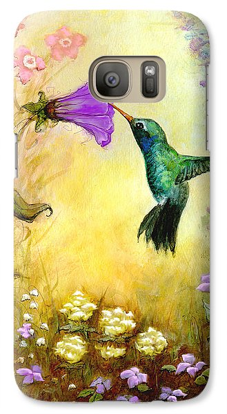 Galaxy Case featuring the mixed media Garden Guest In Lavender by Terry Webb Harshman