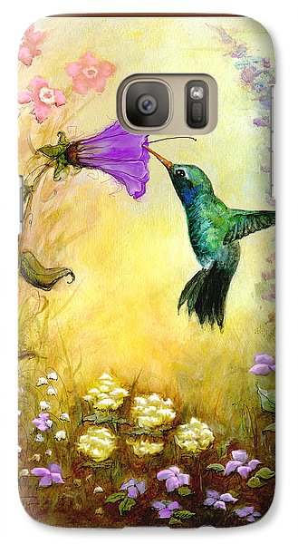 Galaxy Case featuring the mixed media Garden Guest by Terry Webb Harshman
