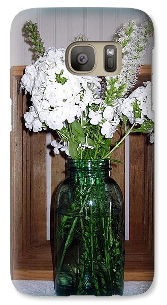Galaxy Case featuring the photograph Garden Phlox In A Mason by Margaret Newcomb