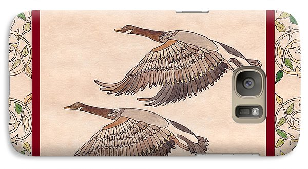 Galaxy Case featuring the drawing Geese by Dianne Levy