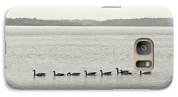 Galaxy Case featuring the photograph Geese In A Row by Peg Urban