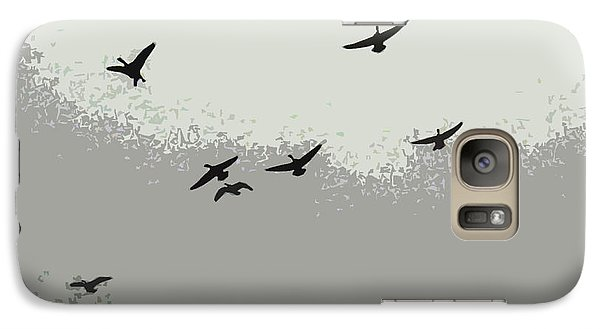 Galaxy Case featuring the photograph Geese In Sillouehette by Nina Silver