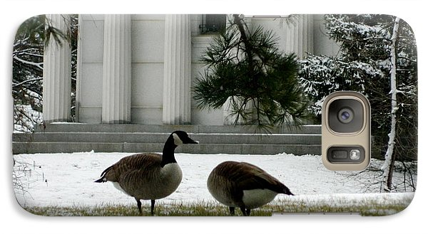Galaxy Case featuring the photograph Geese In Snow by Kathy Barney