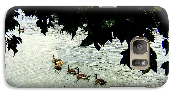 Galaxy Case featuring the photograph Geese On The Lake by Paula Tohline Calhoun