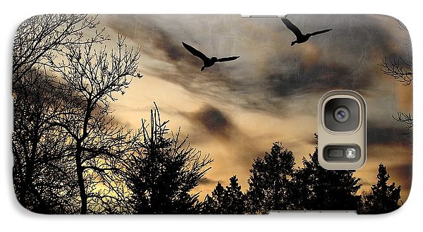 Galaxy Case featuring the photograph Geese Silhouette by Marjorie Imbeau