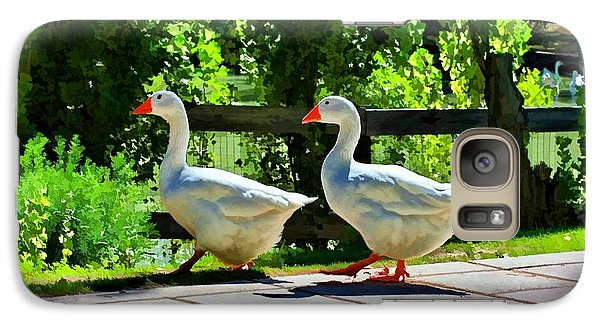 Galaxy Case featuring the photograph Geese Strolling In The Garden by Tracie Kaska