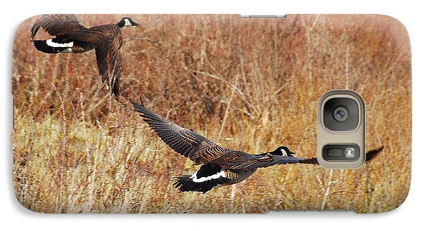 Galaxy Case featuring the photograph Geese - Taking Off In Flight by Janice Adomeit