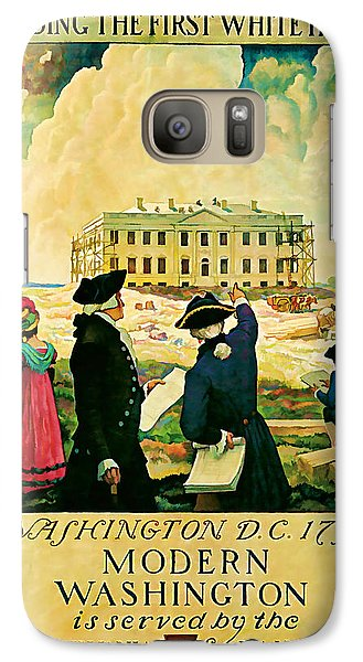 Galaxy Case featuring the mixed media George Washington And The White House 1932 Vintage  by Presented By American Classic Art