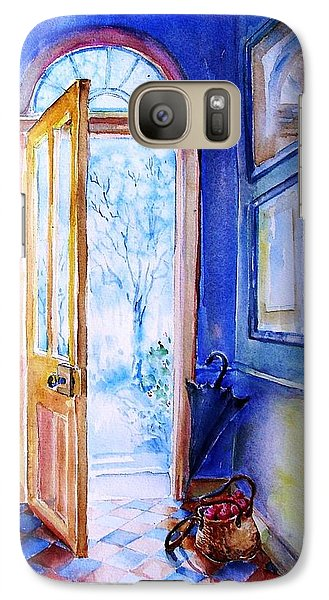 Galaxy Case featuring the painting Winter Doorway Ireland    by Trudi Doyle