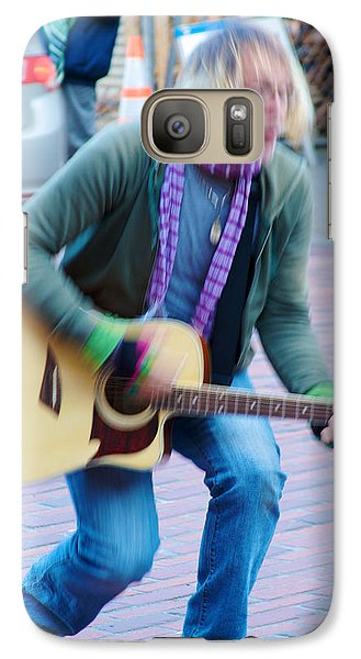 Galaxy Case featuring the photograph Gettin Down - Street Musician In Seattle by Jane Eleanor Nicholas