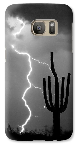 Giant Saguaro Cactus Lightning Strike Bw Galaxy S7 Case