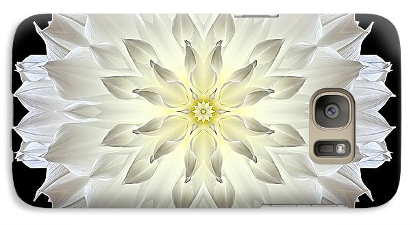 Galaxy Case featuring the photograph Giant White Dahlia Flower Mandala by David J Bookbinder