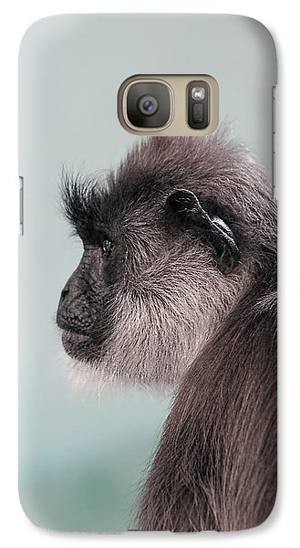 Galaxy Case featuring the photograph Gibbon Monkey Profile Portrait by Tracie Kaska