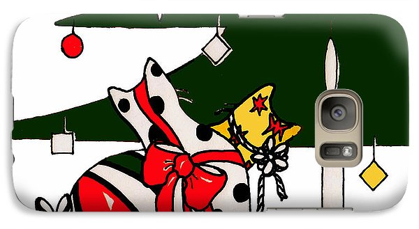 Galaxy Case featuring the drawing Gift Wrapped Cats by Rachel Lowry