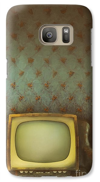 Galaxy Case featuring the photograph Gilded Ornate Frame On Old Wallpaper/digital Painting by Sandra Cunningham