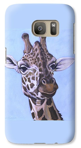 Galaxy Case featuring the painting Giraffe Eye To Eye by Penny Birch-Williams