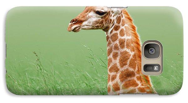 Giraffe Lying In Grass Galaxy Case by Johan Swanepoel