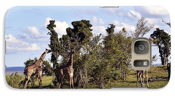 Galaxy Case featuring the photograph Giraffe Picnic by AnneKarin Glass