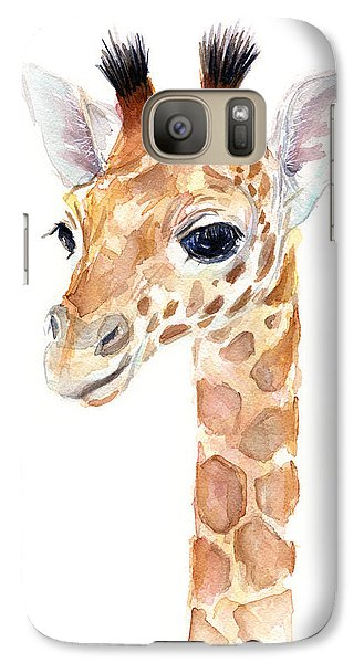 Giraffe Watercolor Galaxy S7 Case by Olga Shvartsur