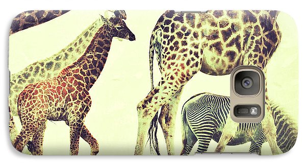 Galaxy Case featuring the photograph Giraffes And A Zebra In The Mist by Nick  Biemans