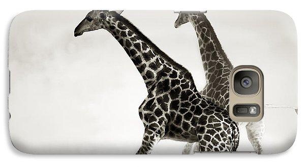 Giraffes Fleeing Galaxy Case by Johan Swanepoel