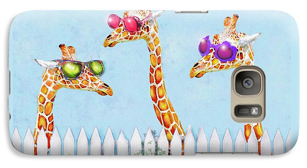 Galaxy Case featuring the digital art Giraffes In Sunglasses by Jane Schnetlage