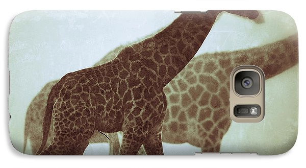 Galaxy Case featuring the photograph Giraffes In The Mist by Nick  Biemans