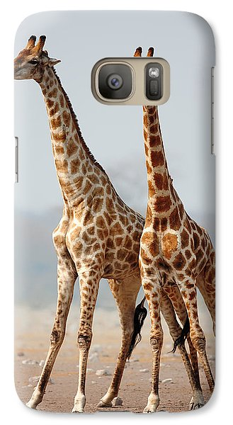 Giraffes Standing Together Galaxy Case by Johan Swanepoel
