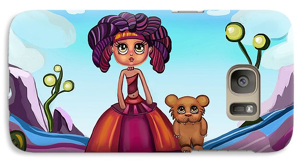 Galaxy Case featuring the painting Girl And Animal by Bogdan Floridana Oana