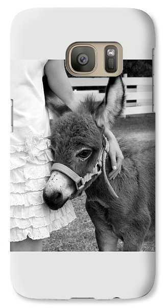 Galaxy Case featuring the photograph Girl And Baby Donkey by Brooke T Ryan