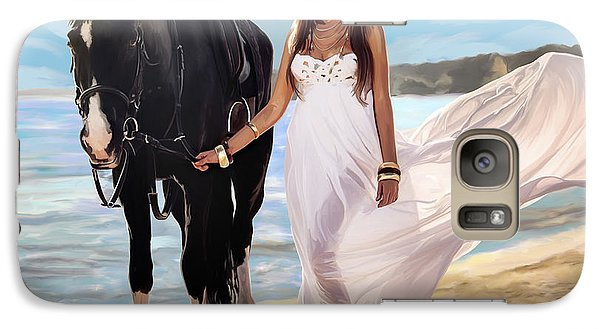 Galaxy Case featuring the painting Girl And Horse On Beach by Tim Gilliland