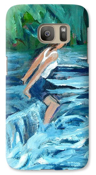 Galaxy Case featuring the painting Girl Bathing In River Rapids by Betty Pieper
