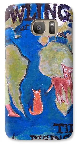 Galaxy Case featuring the painting Girl Howling At The Moon And Rising Tides by Betty Pieper