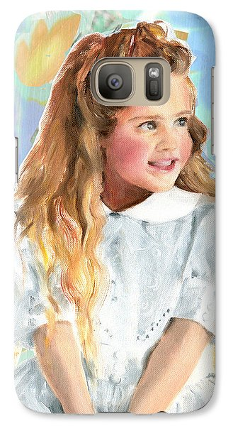 Galaxy Case featuring the painting Girl In A White Lace Dress  by Greta Corens