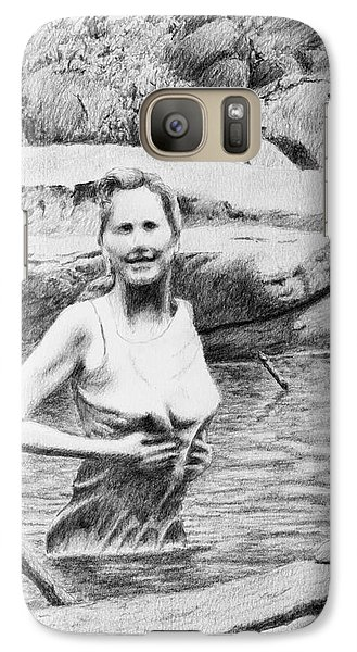 Galaxy Case featuring the drawing Girl In Savage Creek by Daniel Reed