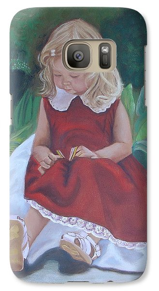 Galaxy Case featuring the painting Girl In The Garden by Sharon Schultz