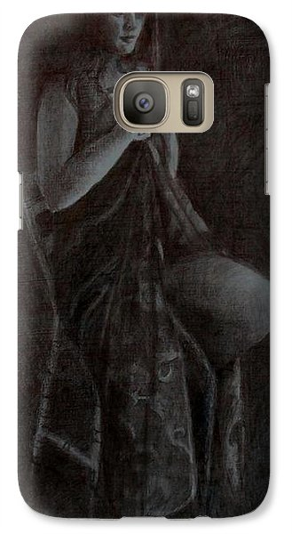 Galaxy Case featuring the drawing Girl On Chair by Lynn Hughes