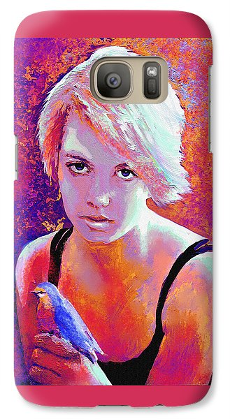 Galaxy Case featuring the digital art Girl On Fire by Jane Schnetlage