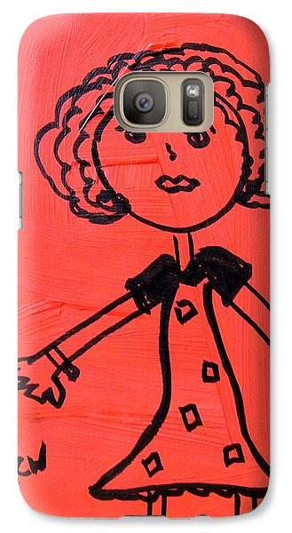 Galaxy Case featuring the painting Girl On Red by Mary Carol Williams