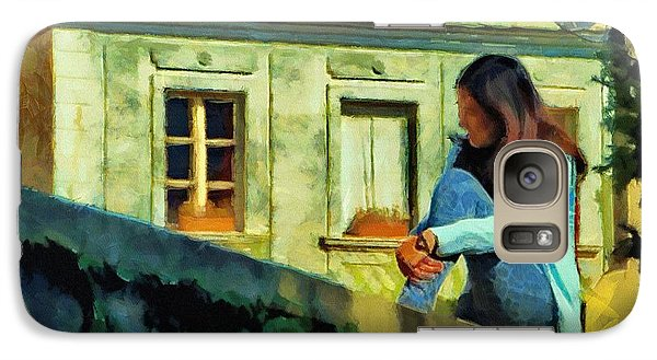 Galaxy Case featuring the painting Girl Posing On Stone Wall by Jeff Kolker
