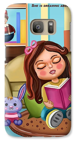 Galaxy Case featuring the painting Girl Reading by Bogdan Floridana Oana