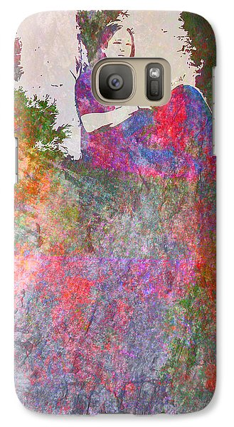 Galaxy Case featuring the mixed media Girl Reading In A Garden by John Fish